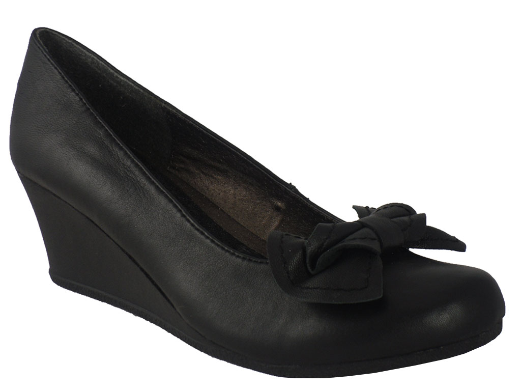 LADIES NEW BLACK LEATHER WEDGE COMFY WORK SHOE SIZE 3-8 | EBay